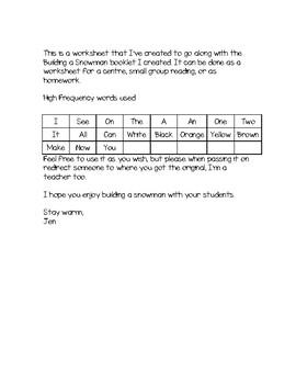 Building a Snowman - worksheet