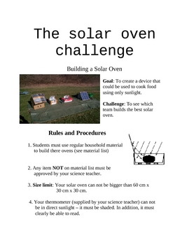 Building a Solar Oven (science project)