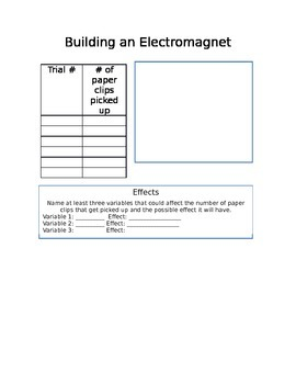 Building an Electromagnet Graphic Organizer