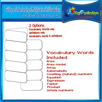 Bldg. an Understanding of Mult. Unit Vocab Interactive Foldables for 3rd Grade