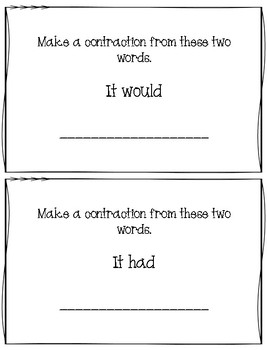 Building and Breaking Contractions Task Cards