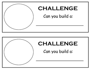 Building challenge sheet. kindergarten, blocks