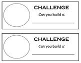 Building challenge sheet. kindergarten, blocks