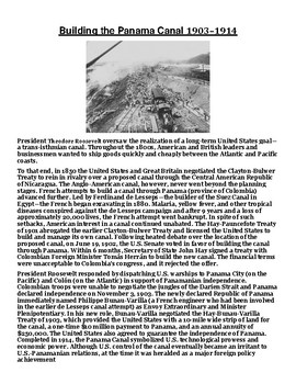 Building the Panama Canal 1903–1914 Article with Summary Assignment
