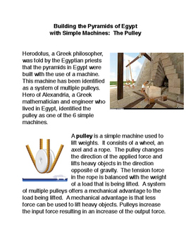 Building the Pyramids of Egypt with Simple Machines: The Pulley