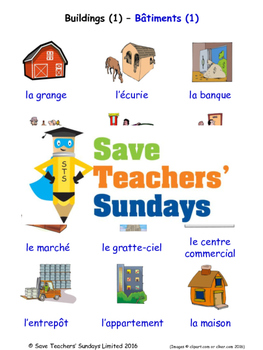 Buildings in French Worksheets, Games, Activities and Flash Cards (1)