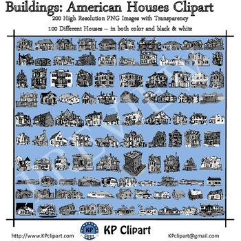 Buildings 100 American Houses Clipart