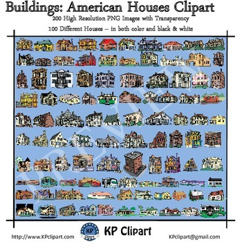 Buildings 100 American Houses Clipart