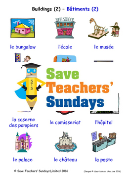 Buildings in French Worksheets, Games, Activities and Flash Cards (2)