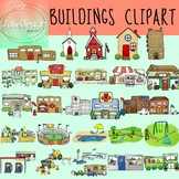 Buildings Clipart Bundle - Color & Line Art 54 piece set