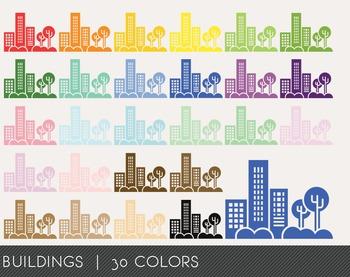 Buildings Digital Clipart, Buildings Graphics, Buildings PNG, Rainbow Buildings