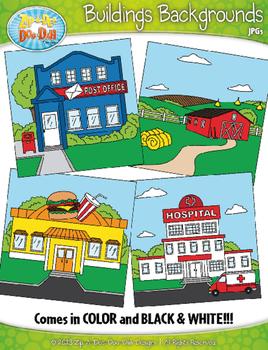 Buildings Exterior Background Scenes Clipart {Zip-A-Dee-Doo-Dah Designs}