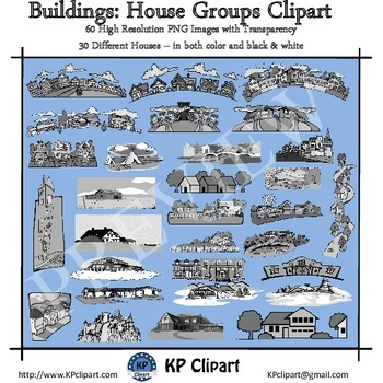Buildings House Groups Dividers and Borders Clipart