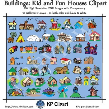 Buildings Kid and Fun Houses Clipart