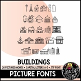 Buildings Picture Font {Educlips Clipart}