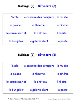 Buildings and Structures in French Worksheets