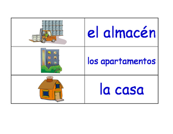 Buildings and Structures in Spanish Flash Cards