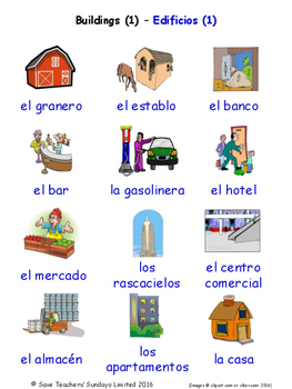 Buildings and Structures in Spanish Word searches / Wordsearches