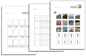 Buildings and related vocabulary task sheets