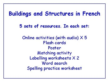 Buildings in French Bundle - Worksheets, Games, Activities & More (with audio)