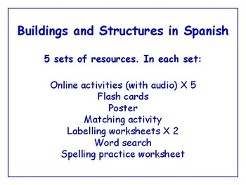 Buildings in Spanish Bundle - Worksheets, Games, Activities & More (with audio)