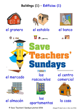 Buildings in Spanish Worksheets, Games, Activities and Flash Cards (1)