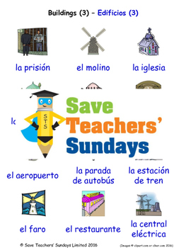 Buildings in Spanish Worksheets, Games, Activities and Flash Cards (3)
