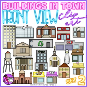 Buildings in town clip art (front view) set 2