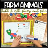 Build It With Shapes and Solve! Farm Animals Pattern Block Puzzles