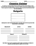 Bulgaria COUNTRY CUISINE WORKSHEET