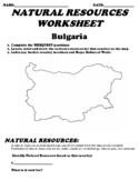 Bulgaria Natural Resource Worksheet and Webquest