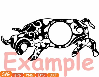 Bull Circle frame Safari ox school Clipart zoo circus flower floral african 377s