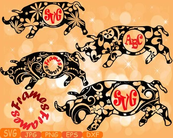 Bull Circle frame Safari ox school Clipart zoo circus flow