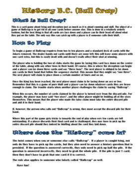 Bull Crap Card Game Review- History!