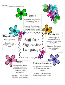 Bull Run Common Core Figurative Language Sort