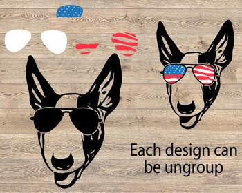 Bull Terrier Dog USA Flag Glasses Paw Silhouette SVG Bulldog paw merica 862s
