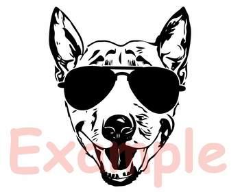 Bull Terrier Dog USA Flag Glasses Paw Silhouette SVG Bulldog  paw merica 863s