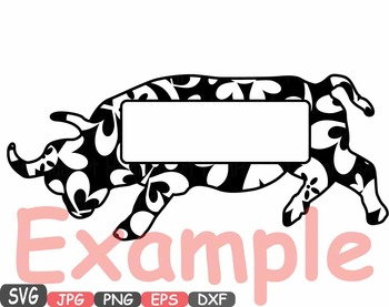 Bull frame Safari ox school Clipart zoo circus flower floral african frames 403s