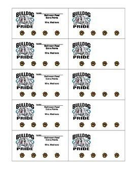 Bulldog Pride Bathroom Puch Card