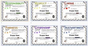 Bulldog Theme Character Ed Certificates