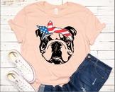 Bulldog USA Bandana mask United States Flag 4th July Bulldogs Breed 1370s