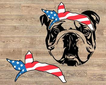 Bulldog USA Bandana mask United States Flag 4th July Bulldogs Breed 1370s