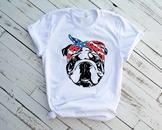 Bulldog USA Bandana mask United States Flag 4th July Bulldogs Breed 1376s