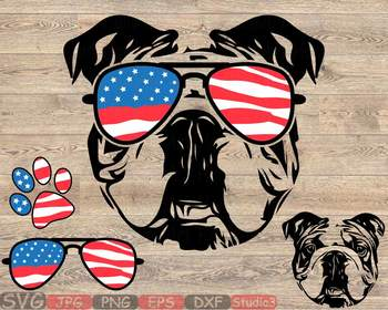 Bulldog USA Flag Glasses Paw Silhouette SVG clipart French Dog 4th July 846S