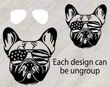 Bulldog USA Flag Glasses Paw Silhouette SVG clipart football Dog 4th July 827S