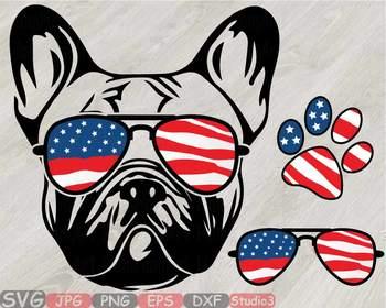 498f7ce328d4 Bulldog USA Flag Glasses Paw Silhouette SVG patriotic American dog ...