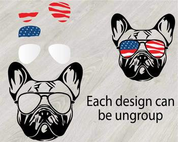 18f7b6d546ce Bulldog USA Flag Glasses Paw Silhouette SVG patriotic American dog us mug  827s