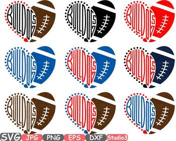 Bulldogs Hearts football sport sports clipart NFL football heart School -713s