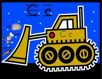 Bulldozer Alphabet cards