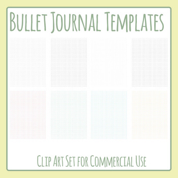 Bullet Journal Pages Templates - Small Dots Clip Art Set for Commercial Use